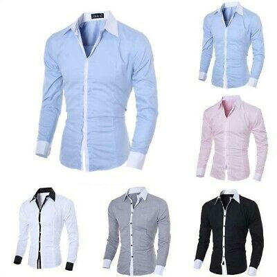 Luxury Mens Slim Fit Long Sleeve Shirt Casual Button Dress Formal Shirts Tops
