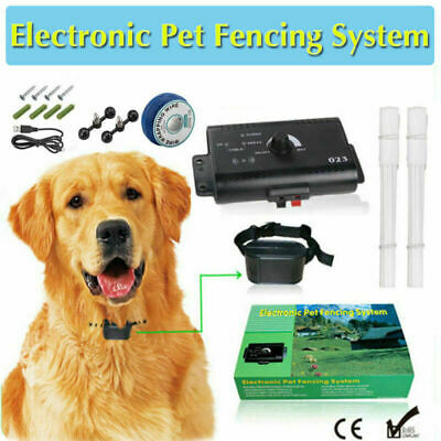Dog Collar Pet Containment System Electric Shock Boundary Control Fence O1N6L