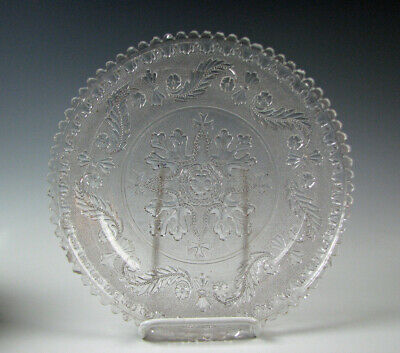Antique Early American Lacy Flint Glass Large Plate or Tray early 19th Century