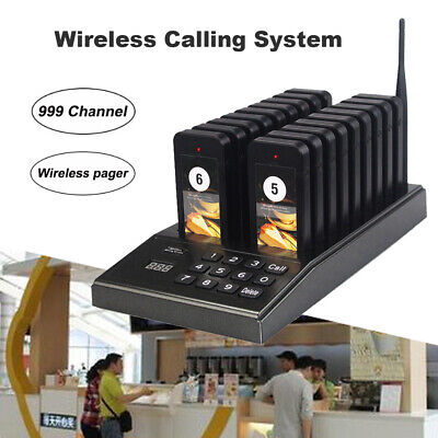 Restaurant Paging Calling System 999 Channels Pagers w/ 18 Call Coaster Pagers