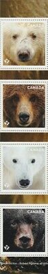 BEARS = Polar =Grizzly= GUTTER strip of 4 (col.#3) from UnCut sheet Canada 2019