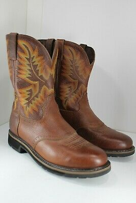 2052aec54e2 NEW MENS JUSTIN Tan All Leather Stampede Western Cowboy Work Boots ...