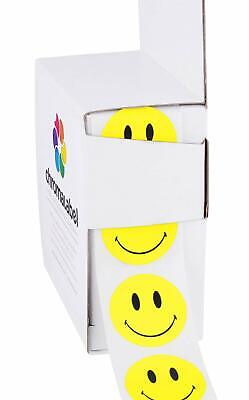 """NEW 1"""" Yellow Smiley Face Circle Stickers 