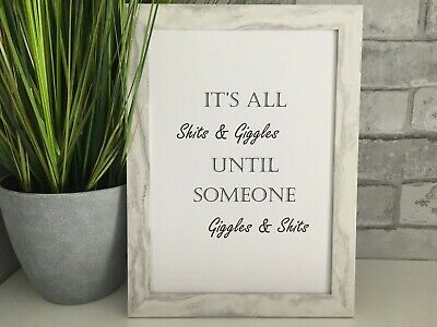 its all shits and giggles art picture poster funny bathroom toilet kitchen A4