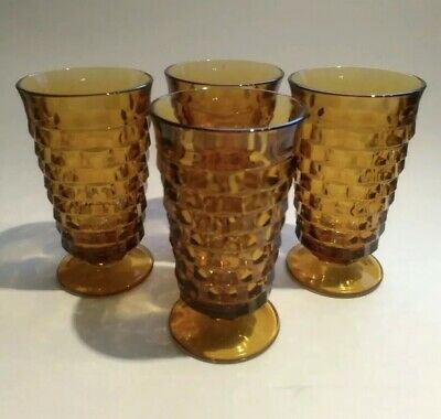 "Colony WHITEHALL Amber Set 4 Cubist 6"" Footed Ice Tea Glasses Indiana Glass"