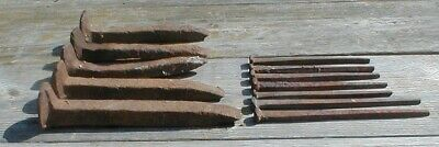 12 Old Railroad Spikes - Antique Rusty Cast Iron Spikes & Nails RR