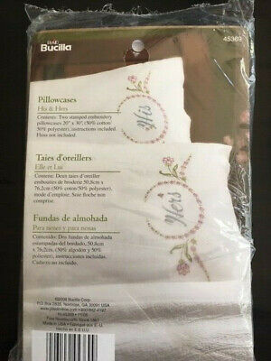 """Bucilla Stamped Embroidery Pillowcase Pair 20""""X30"""" His & Hers NEW"""