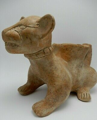 Vintage Pre-columbian Style Clay Colima Dog Jaguar Effigy Vessel 12 Inch Long