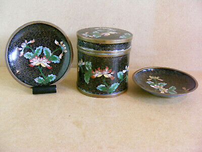 Antique Chinese Cloisonne Floral Pot and Dishes