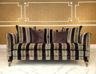 NEW EXCLUSIVE HAND Made Berkeley Sofa In Lana Check & Leather