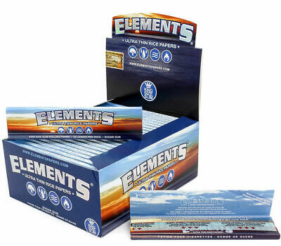 Elements King Size Slim Rolling Paper - 5 PACKS - Natural Ultra Thin Rice