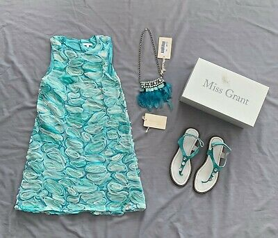 Miss Grant preloved DRESS & SANDALS 37 NWT NECKLACE 3PC SET 10 11 yrs 146 SZ 40