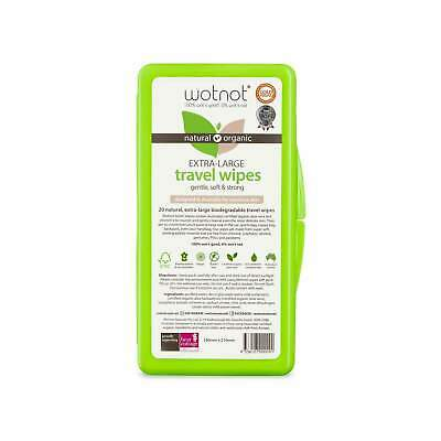 Wotnot Biodegradable Natural Travel Wipes with Case 20 sheets Australian Made