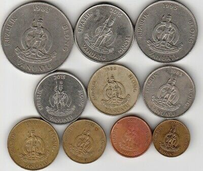 10 different world coins from VANUATU