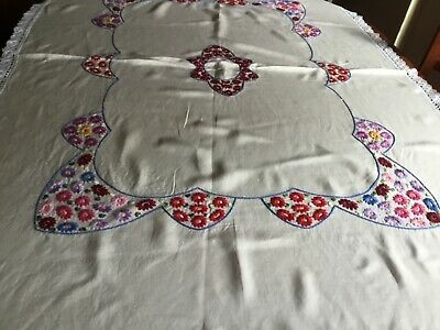 Vintage Embroidered Tablecloth Crochet Edge