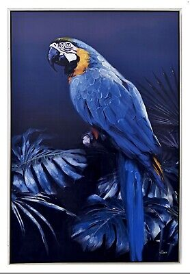 120 x80cm Framed Canvas Wall Art - Blue & Gold Macaw Parrot Bird Picture Hanging
