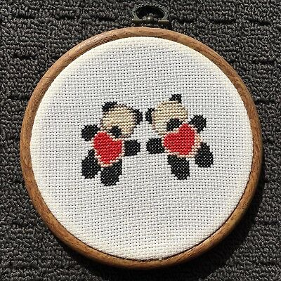 """TEDDY BEARS """"Brown"""" Finished Cross Stitch Needlework in Embroidery Hoop"""