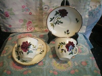 Vintage Cups & Saucers Pair By Wood & Sons Deep Red Roses And Gold Gilding Vgc