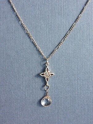 Vintage Jewellery Sterling Silver Celtic Knot & Clear Droplet Of Light Necklace