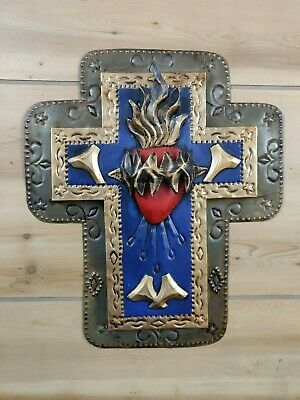 "Mexican Folk Art Tin Metal Sacred Heart Cross Embossed 11"" x 10"" Wall Hanging"