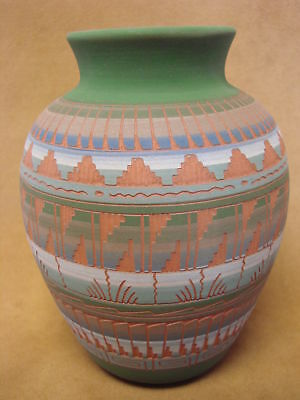 Native American Indian Hand Etched Pot by Mirelle Gilmore! Pottery Vase PT0047