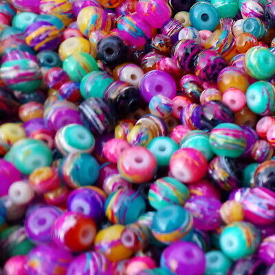 40g  Spray Painted Drawbench 4mm to 8mm Assorted Glass Round Beads(F16)