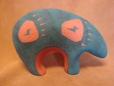 Native American Acoma Pottery Hand Etched Bear by JS Lewis