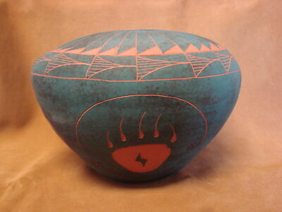 Native American Acoma Indian Pottery Hand Painted Seed Pot by JS Lewis