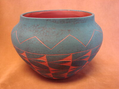 Native American Acoma Indian Pottery Hand Painted Pot by JS Lewis