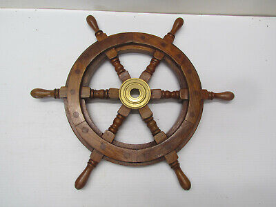 "16"" Wood Ship Wheel Nautical Themed Wall Decor Wooden Captain Helm 11"" Center"