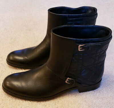 1c439e20d62 NWOB CHRISTIAN DIOR Black Patent Leather Rebelle Ankle Combat Boots ...