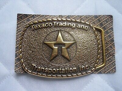 TEXACO Solid Brass Belt Buckle - New old Stock - Unused