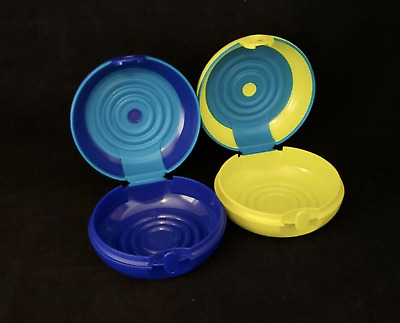 Tupperware Stuffables Round Accessory Organizers Set  of 2 in Blue & Green New