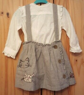 girls 2 piece outfit skirt top age 6-9 months next