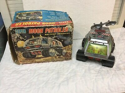Vintage Japan JTOY Tin Battery Operated Super Moon Patroler Space Vehicle w Box