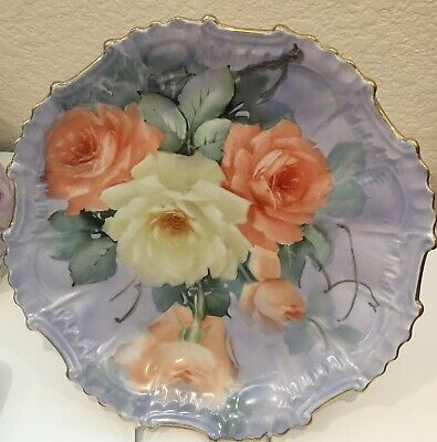 ROSES Hand Painted 10-in fancy Plate  Gold Rim  Signed
