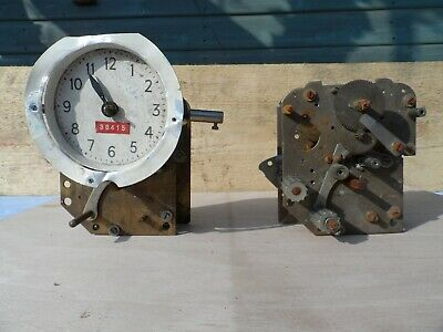 Vintage Clocking In Clock Movements For Parts Or Restoration