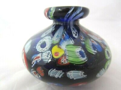 Murano hand blown cane vase cobalt blue & multi coloured Millefiori canes