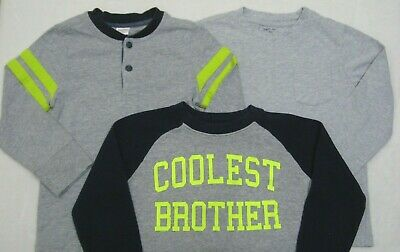 Boys Lot of 3 Gray T-shirts Tees size 4T Gymboree Henley Carters Coolest Brother