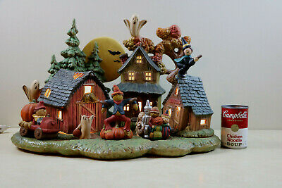 Ceramic Hand Painted  & Crafted Lighted Halloween Haunted Village & Accessories
