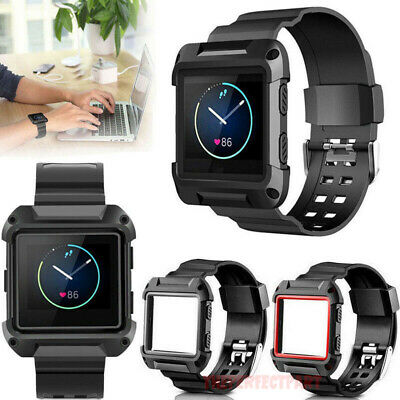 Black Armor New Replacement Wristband Watch Band Strap Frame For Fitbit Blaze