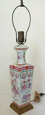 Antique Chinese Famille Rose Porcelain Table Lamp Republic Period Hand Painted
