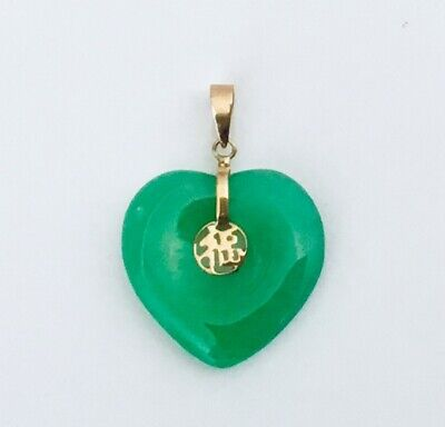 "14K Yellow Gold Chinese "" Good Luck "" Character Natural Jade Heart Pendant  NEW"
