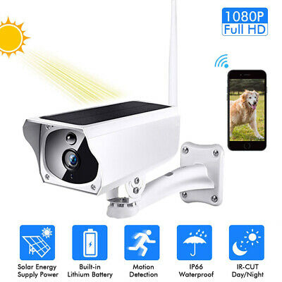 Outdoor Solar Power IP 1080P Camera Wireless Wifi Surveillance Cam Night Vision