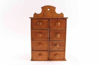 Antique Wall Hanging Wooden Apothecary  Spice Box Cabinet Dovetailed Corners
