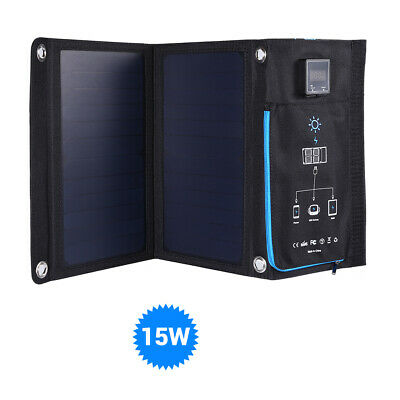 Portable 15W 5V Solar Charger Panel Mobile Power Bank w/ USB for iPhone Tablets