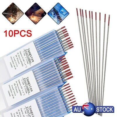 10Pcs Red TIG Welding Tungsten Steel Electrodes Rod 2% Thoriated 1.6x150mm WT20