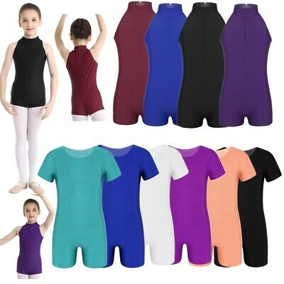 Girls Kids Dance Gymnastic Leotard Round Neck Bodysuit Plain Color Top Childrens