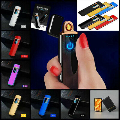 Smart Touch Sensor USB Rechargeable Arc Flameless Plasma Electric Lighter NEW