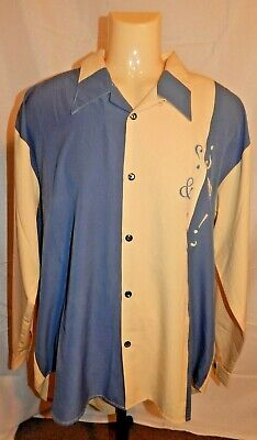 BIG DEAL Vintage 90s Men's detailed Cream and Blue Western Shirt Size XL